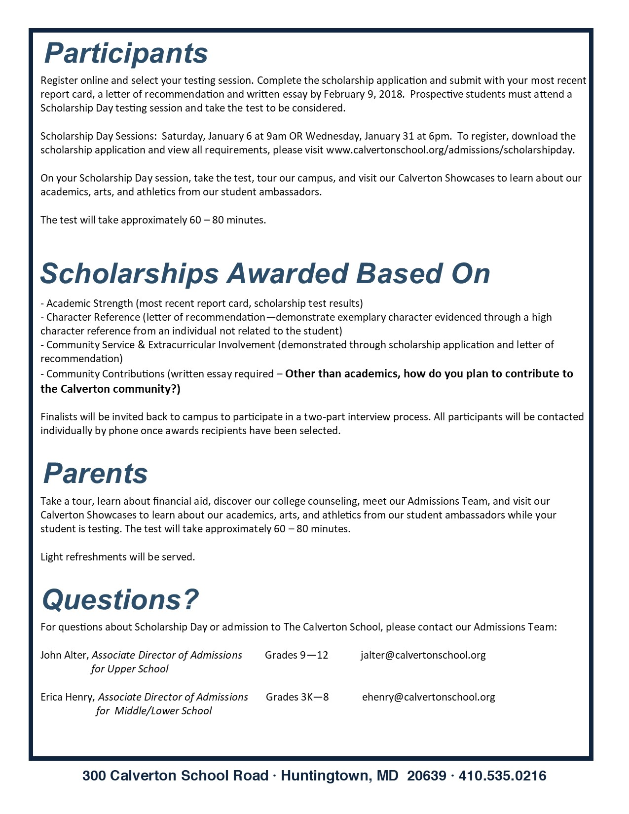 Scholarship day calverton school print scholarship day information sheet note january 6th date has been rescheduled to january 20th due to icy road conditions aljukfo Gallery
